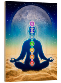Cuadro de madera  In Meditation With Chakras - Blue Moon Edition - Dirk Czarnota
