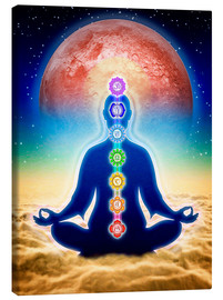 Lienzo  In Meditation With Chakras - Red Moon Edition - Dirk Czarnota