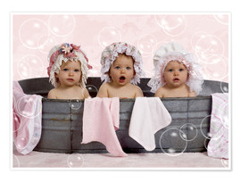 Póster  Toddlers in flowery bonnets - Eva Freyss