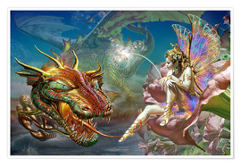 Póster  The dragon and the fairy - Adrian Chesterman