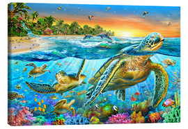 Lienzo  Underwater turtles - Adrian Chesterman