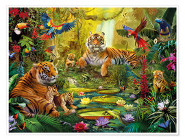Póster  Tiger Family in the Jungle - Jan Patrik Krasny