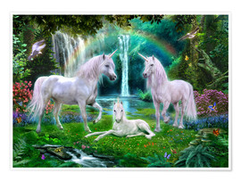 Póster  Rainbow Unicorn Family - Jan Patrik Krasny