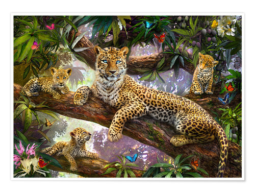 Póster Tree Top Leopard Family