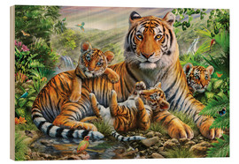 Cuadro de madera  Tiger and Cubs - Adrian Chesterman
