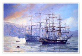 Póster  Frigate and 1st Rate c.1815 - Rob Johnson