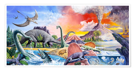 Póster  Dinosaurs volcano - Paul Simmons