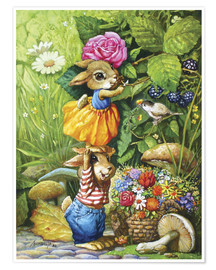 Póster  Rabbits picking flowers - Petar Meseldzija