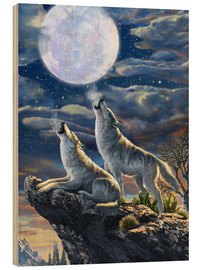 Cuadro de madera  Midnight Wolves - Adrian Chesterman