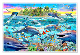 Póster  Dolphin Reef - Adrian Chesterman