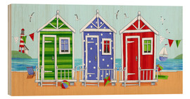 Cuadro de madera  Colorful beach huts - Peter Adderley