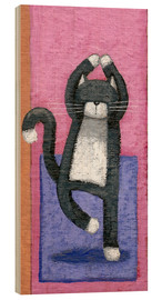 Cuadro de madera  Yoga for Cats - Peter Adderley