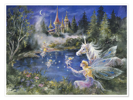 Póster  Fairies visit the Unicorn - Mimi Jobe