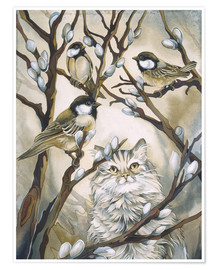 Póster Cat and birds