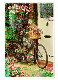 Póster Bicycle & Flowers