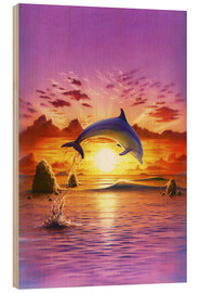 Cuadro de madera  Day of the dolphin - sunset - Robin Koni