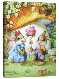 Lienzo  Rabbits and rose - Petar Meseldzija