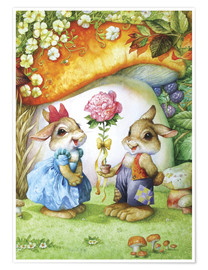 Póster  Rabbits and rose - Petar Meseldzija