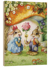 Cuadro de madera  Rabbits and rose - Petar Meseldzija