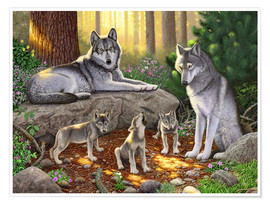 Póster A family of wolves