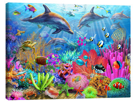 Lienzo  Dolphin Coral Reef - Adrian Chesterman