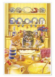 Póster Cats cooking cake
