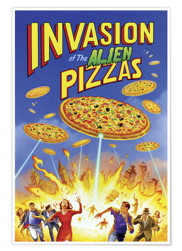 Póster Invasion of the alien pizzas