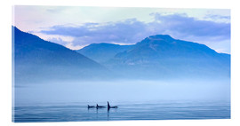Cuadro de metacrilato  Three Killer whales in mountain landscape at Vancouver Island - Jürgen Ritterbach