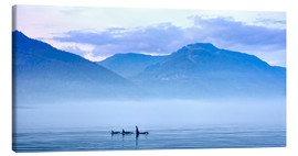 Lienzo  Three Killer whales in mountain landscape at Vancouver Island - Jürgen Ritterbach