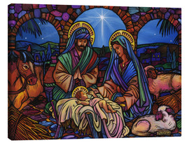 Lienzo  Stained Glass Nativity - Lewis T. Johnson