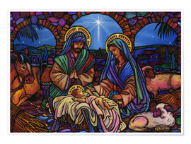 Póster  Stained Glass Nativity - Lewis T. Johnson