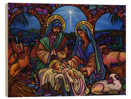 Cuadro de madera  Stained Glass Nativity - Lewis T. Johnson