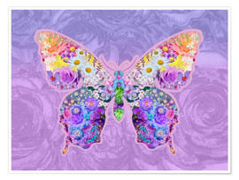 Póster Purple Floral Buttefly