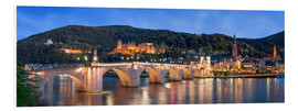 Cuadro de PVC  Heidelberg skyline panorama at night with castle and Old Bridge - Jan Christopher Becke