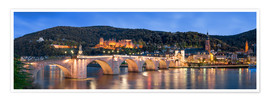 Póster  Heidelberg skyline panorama at night with castle and Old Bridge - Jan Christopher Becke