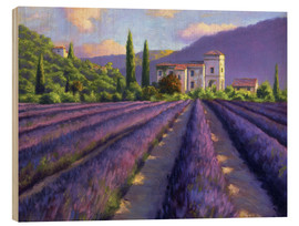 Cuadro de madera  Lavender field with Abbey - Jay Hurst