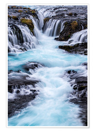 Póster  Bruarfoss, waterfalls flow into the river - Dennis Kirkland