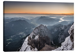 Lienzo  Sunrise from Zugspitze mountain with view across the alps - Andreas Wonisch