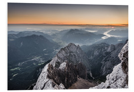 Cuadro de PVC  Sunrise from Zugspitze mountain with view across the alps - Andreas Wonisch