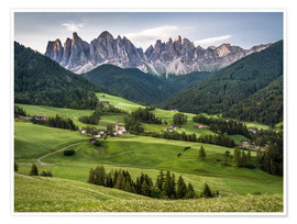 Póster View over Funes in the Dolomites