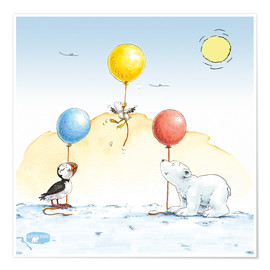 Póster  The little polar bear having a party