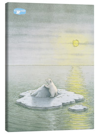 Lienzo  The Little Polar Bear on the ice floe
