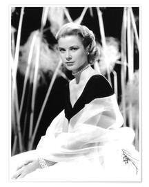 Póster  Grace Kelly with a tulle shawl