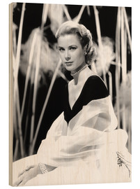 Cuadro de madera  Grace Kelly with a tulle shawl