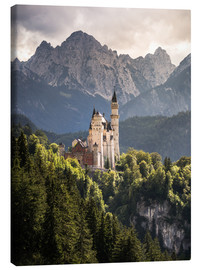 Lienzo  Neuschwanstein Castle in front of the Alps - Andreas Wonisch