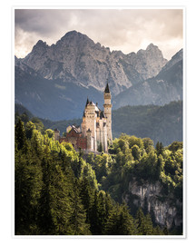 Póster  Neuschwanstein Castle in front of the Alps - Andreas Wonisch