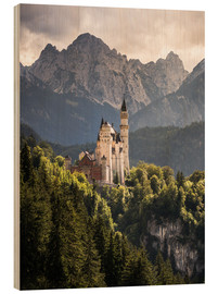 Cuadro de madera  Neuschwanstein Castle in front of the Alps - Andreas Wonisch
