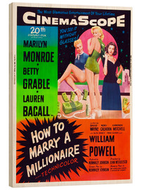 Cuadro de madera  HOW TO MARRY A MILLIONAIRE, Betty Grable, Marilyn Monroe, Lauren Bacall