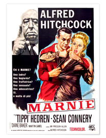 Póster  MARNIE, Alfred Hitchcock, Sean Connery, Tippi Hedren