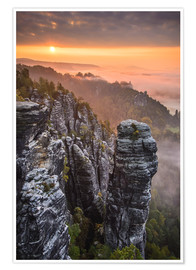 Póster  Sunrise in the Saxon Switzerland at the so called Hellhound - Andreas Wonisch